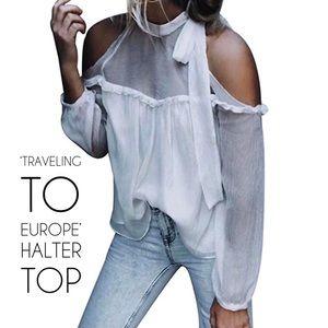 White Cold Shoulder Halter Top